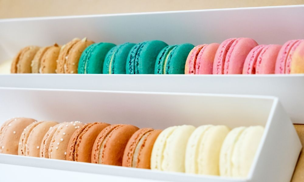 Shelves of Modern-Day Macarons