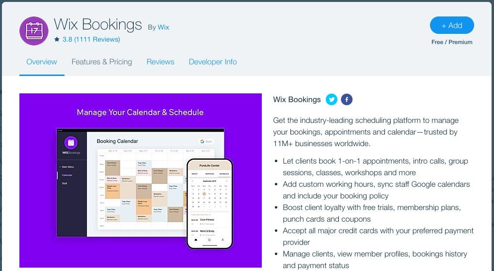 Wix bookings app