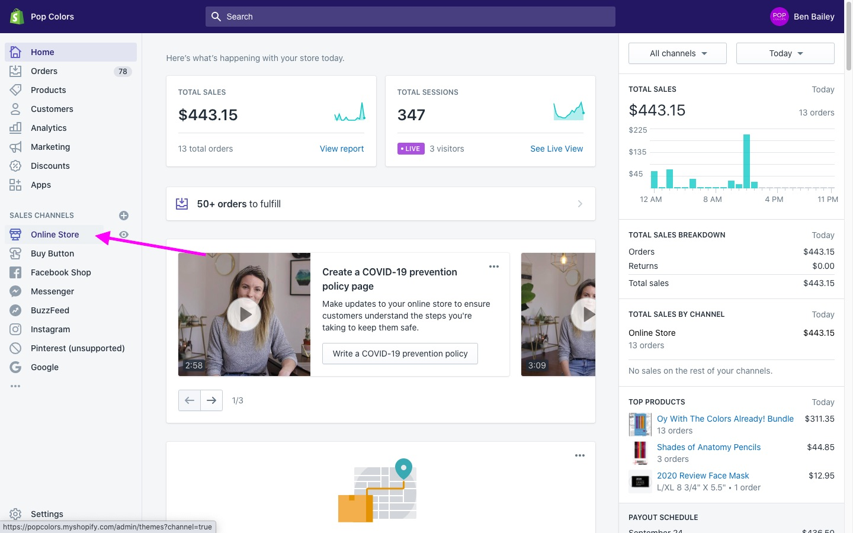Shopify dashboard main